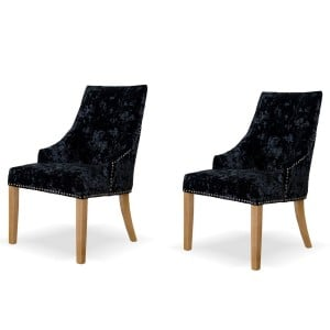 Deluxe Solid Oak Furniture Deep Crushed Black Velvet Dining Chair (Pair)