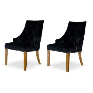 Deluxe Solid Oak Furniture Crushed Black Velvet Dining Chair (Pair)