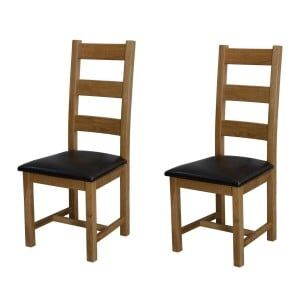 Deluxe Solid Oak Furniture Ladder Back Dining Chair (Pair)