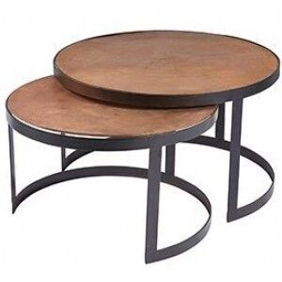 Ferro Circular Framed Vintage Copper Nest of Tables