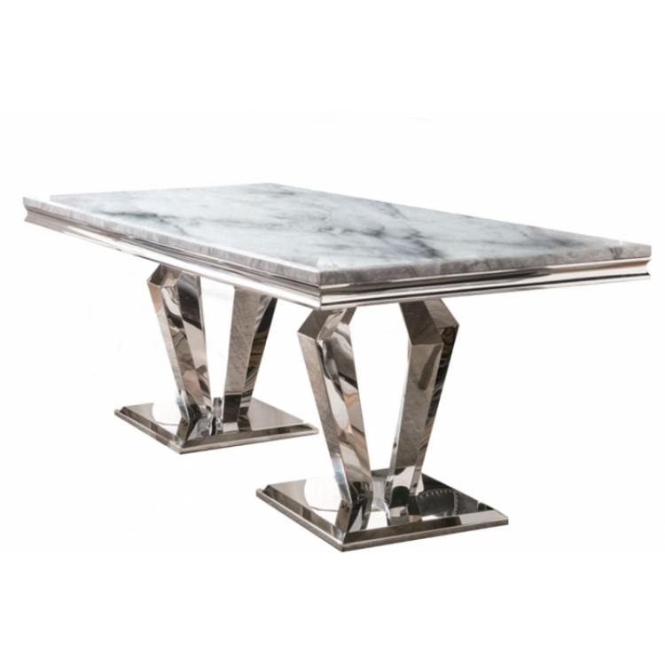 Vida Living Arturo Grey Marble and Chrome 200cm Dining Table Only