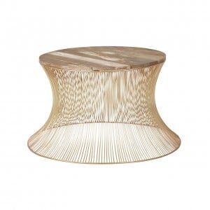 Templar Gold Finish Wire Base and Natural Wooden Top Coffee Table