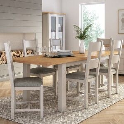 Vida Living Amberly Painted & Oak 140-180cm Extending Dining Table