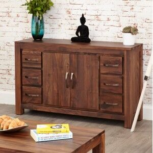 Mayan Walnut Furniture Six Drawer Sideboard