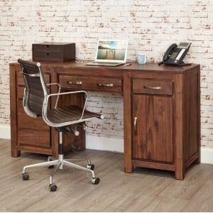 Mayan Walnut Furniture Twin Pedestal Computer Desk
