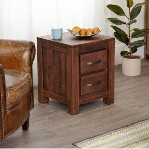 Mayan Walnut Furniture Two Drawer Lamp Table