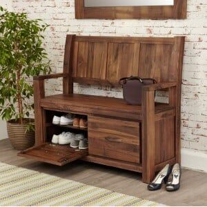 Mayan Walnut Furniture Monks Bench / Shoe Cupboard