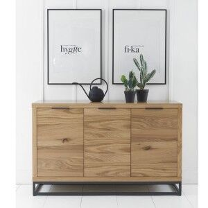 Elliptus Oak Furniture 3 Door Sideboard