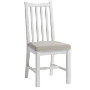 Galaxy White Painted Furniture Slatted Back Dining Chair (Pair)