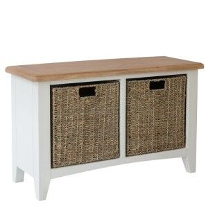 Galaxy White Painted Furniture Hall Bench with Wicker Baskets