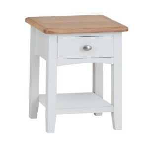 Galaxy White Painted Furniture 1 Drawer Lamp Table