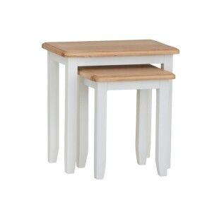Galaxy White Painted Furniture Nest of 2 Tables