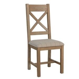 Heritage Smoked Oak Furniture Natural Cross Back Dining Chair (Pair)