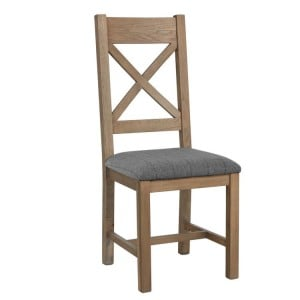 Heritage Smoked Oak Furniture Grey Cross Back Dining Chair (Pair)