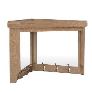 Heritage Smoked Oak Furniture Corner Coat Rack with Mirror