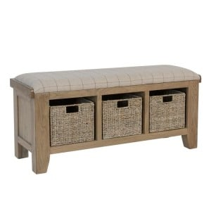 Heritage Smoked Oak Furniture Hall Bench with Wicker Baskets
