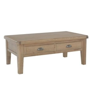 Heritage Smoked Oak Furniture Large Coffee Table with 2 Drawers