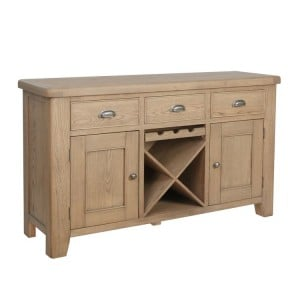 Heritage Smoked Oak Furniture 3 Drawer 2 Door Sideboard