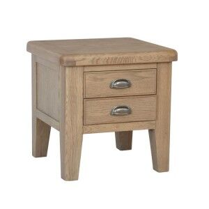 Heritage Smoked Oak Furniture 2 Drawer Lamp Table