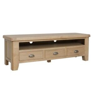 Heritage Smoked Oak Furniture Large TV Unit with 3 Drawers
