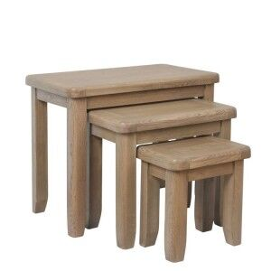 Heritage Smoked Oak Furniture Nest of 3 Tables