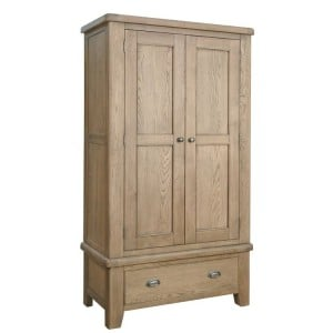 Heritage Smoked Oak Furniture Double Wardrobe