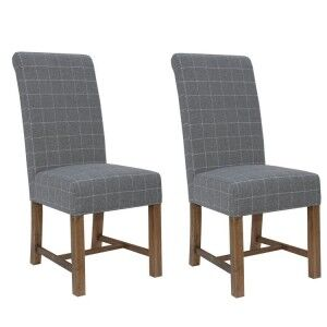 Heritage Smoked Oak Furniture Grey Checked Fabric Dining Chair (Pair)