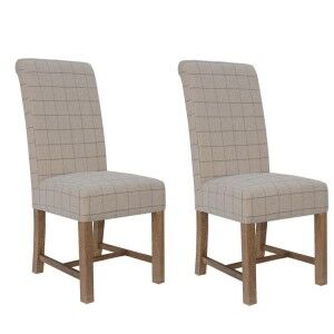 Heritage Smoked Oak Furniture Natural Checked Fabric Dining Chair (Pair)