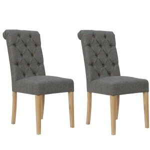 Livorno Collection Dark Grey Button Back Dining Chair with Scroll Top (Pair)