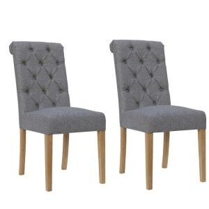 Livorno Collection Light Grey Button Back Dining Chair with Scroll Top (Pair)