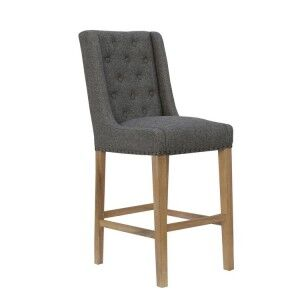 Livorno Collection Dark Grey Fabric Button Back Stool with Studs