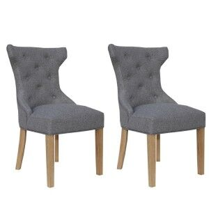 Livorno Collection Light Grey Winged Button Back Dining Chair (Pair)