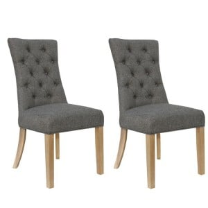 Livorno Collection Dark Grey Curved Button Back Dining Chair (Pair)