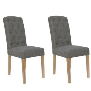 Livorno Collection Dark Grey Button Back Upholstered Dining Chair (Pair)