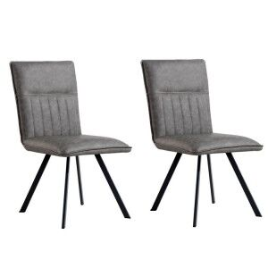 Metro Industrial Furniture Grey Leather Dining Chair (Pair)