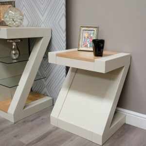 Z Solid Oak Grey Painted Furniture Lamp Table