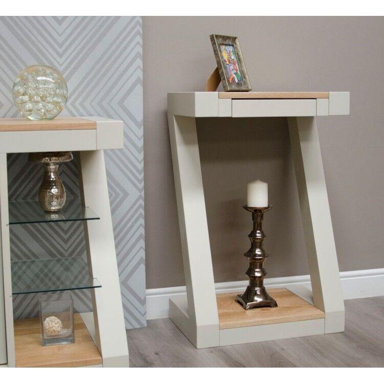 Z Solid Oak Grey Painted Furniture Small Console Table