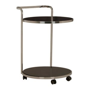 Ackley 2 Tier Stainless Steel and Black Glass Drinks Trolley