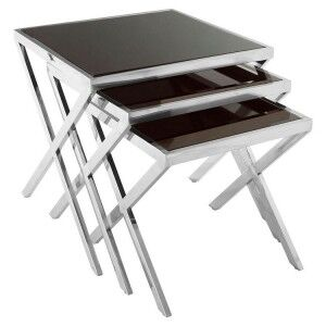 Ackley Chrome Finish Metal and Black Glass Nesting Tables