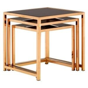 Ackley Set Of 3 God Metal and Black Glass Square Side Tables