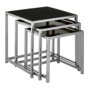 Ackley Set Of 3 Silver Finish Metal and Black Glass Nesting Tables