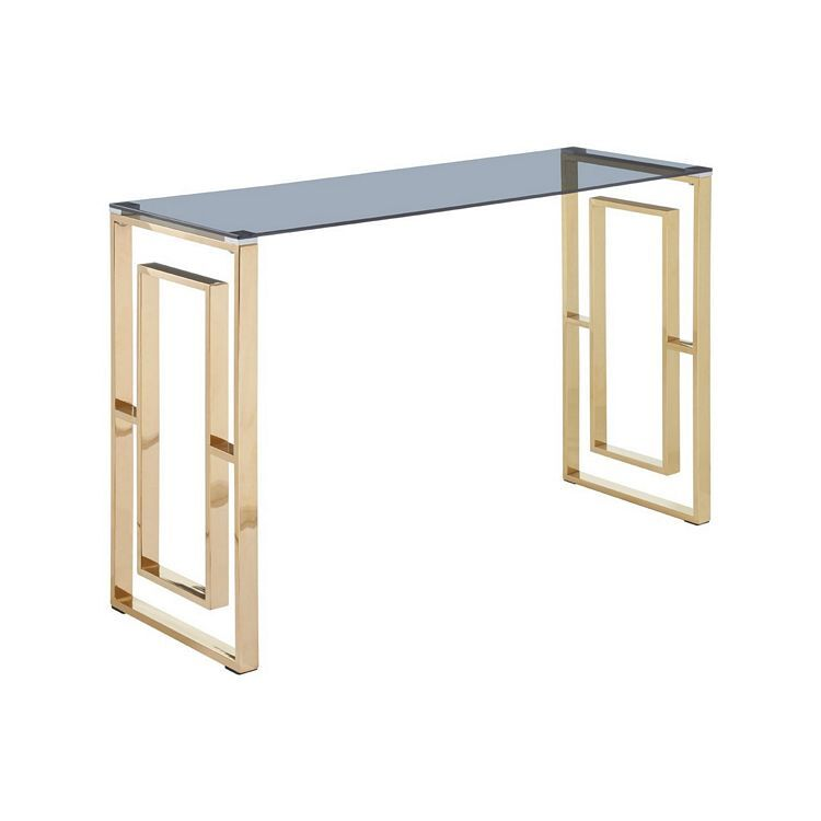 Allure Gold Finish Metal and Glass Square Legs Console Table