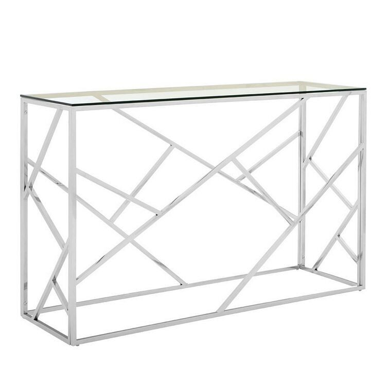 Allure Stainless Steel and Tempered Glass Geometric Console Table