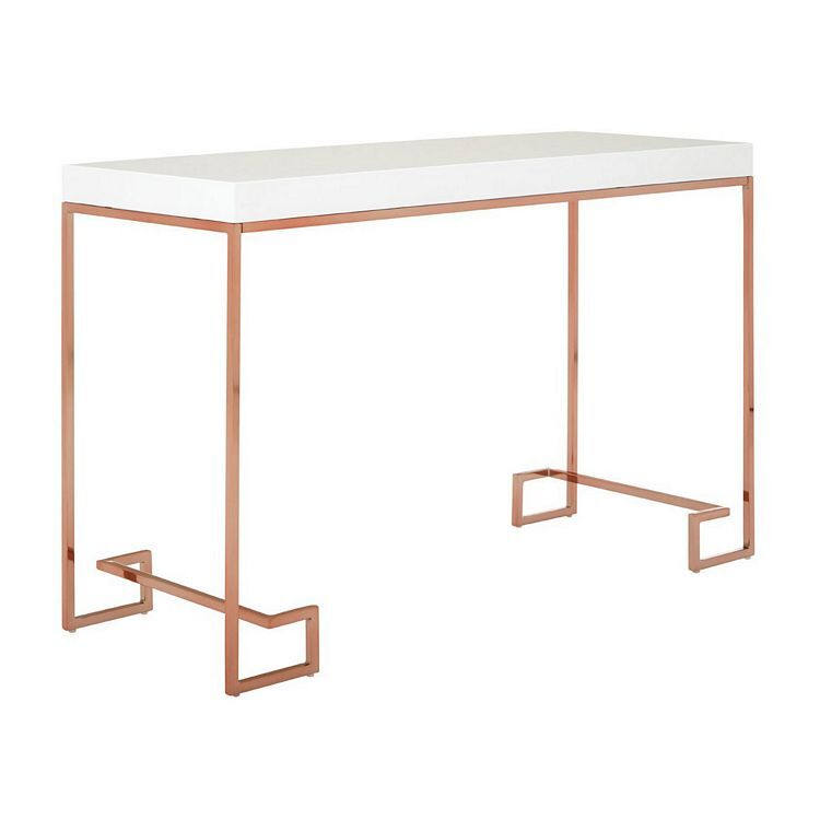 Allure White High Gloss Rose Top and Rose Gold Legs Console Table