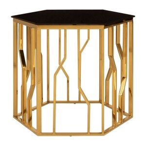 Alvaro Gold Finish Metal and Black Glass Hexagonal Side Table