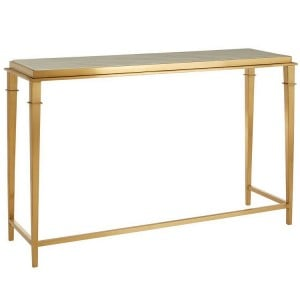 Alvaro Gold Finish Metal and White Marble Rectangular Console Table