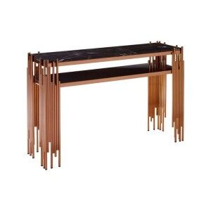 Alvaro Rose Gold Metal and Black Marble Top Glass Shelf Console Table