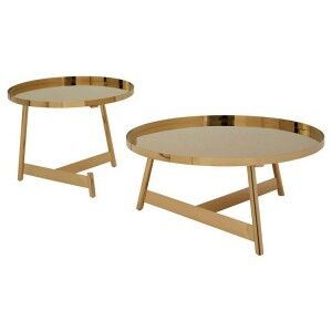 Alvaro Set of 2 Rose Gold Finish Metal Round Side Tables