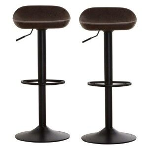 Dalston Vintage Brown Faux Leather and Metal Adjustable Stool Pair