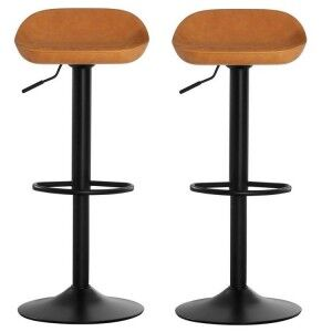 Dalston Vintage Orange Faux Leather and Metal Bar Stool Pair